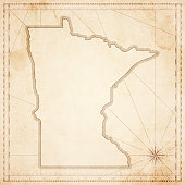 Minnesota map in retro vintage style - old textured paper