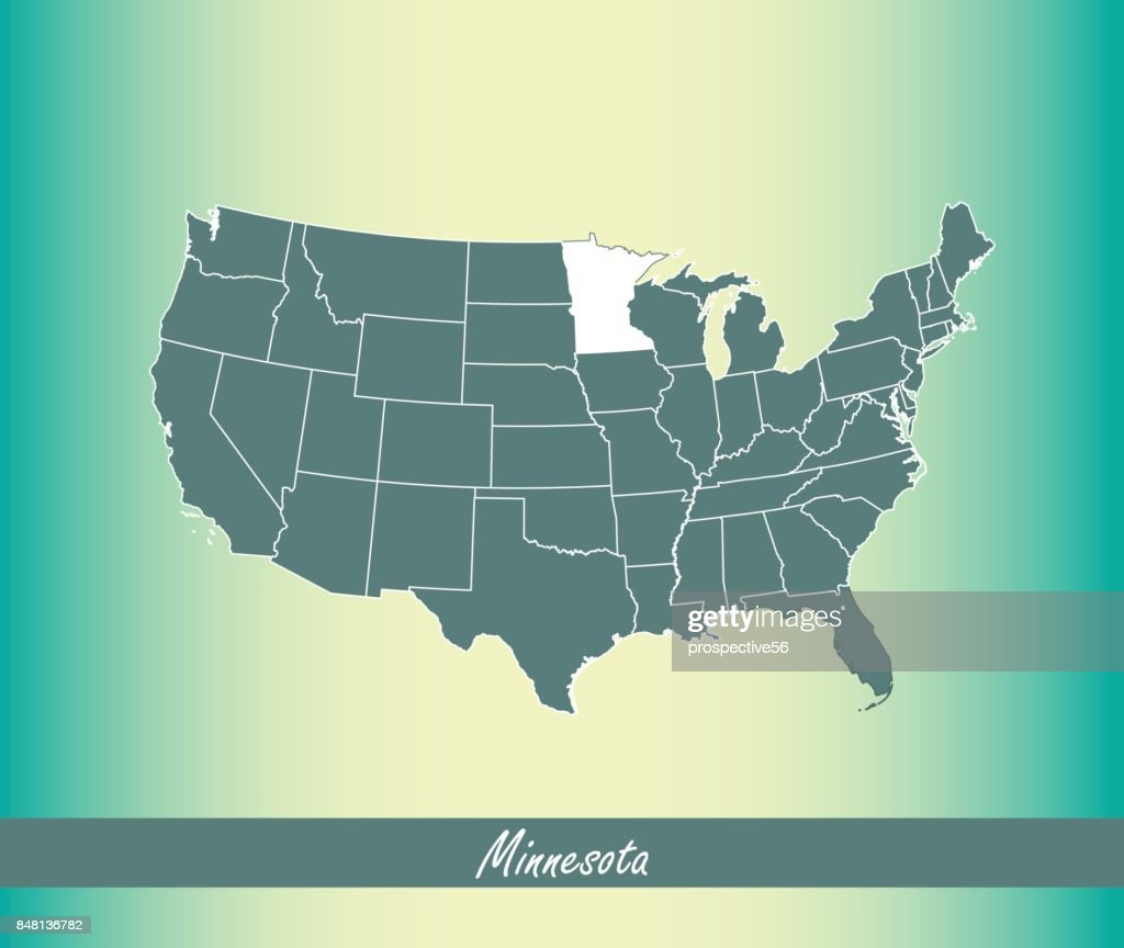Minnesota map vector outline illustration highlighted in USA map vector blue background