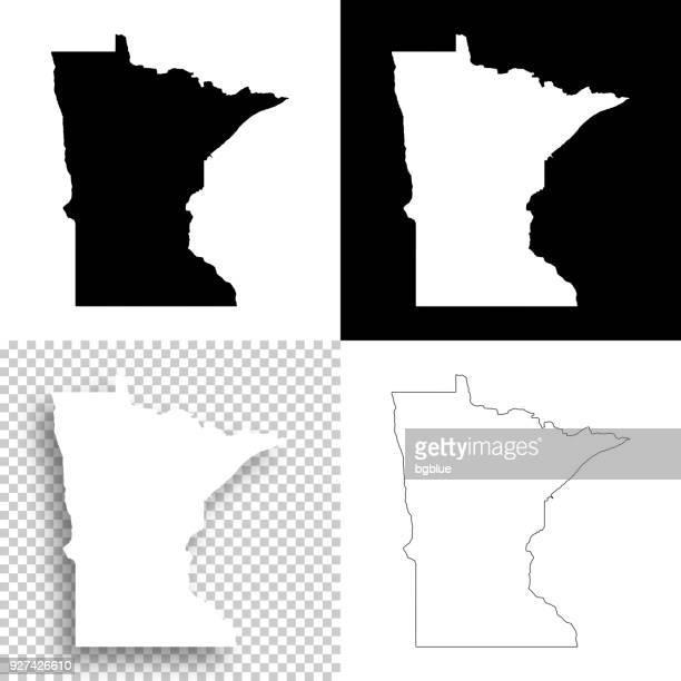minnesota maps for design - blank, white and black backgrounds - minnesota stock illustrations