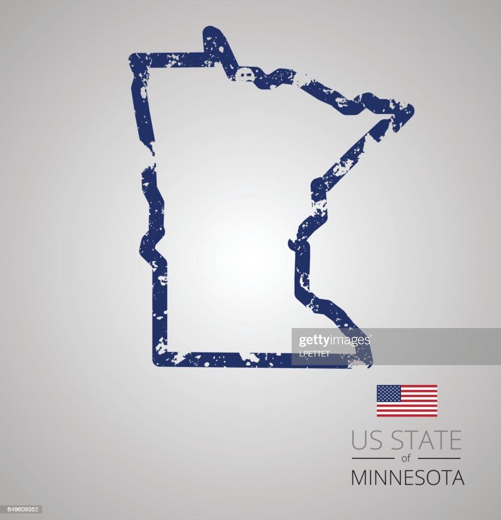 Minnesota State Grunge Outline : Vector Art
