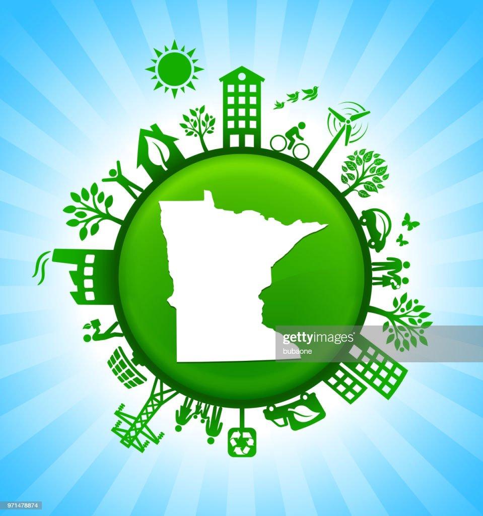 Minnesota State Map Green Environmental Conservation Vector