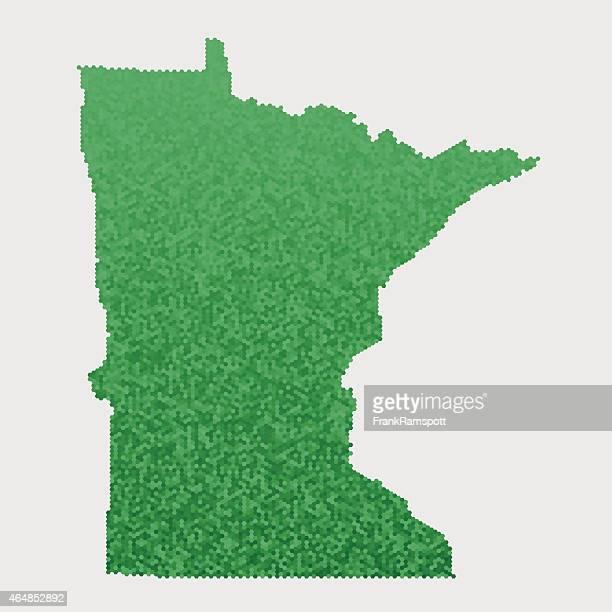Minnesota State Map Green Hexagon Pattern