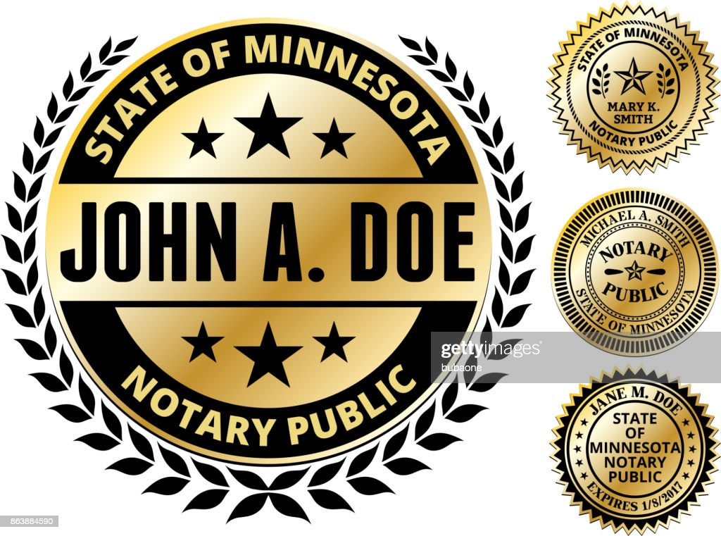 Minnesota State Notary Public Seal In Gold Vector Art Getty Images
