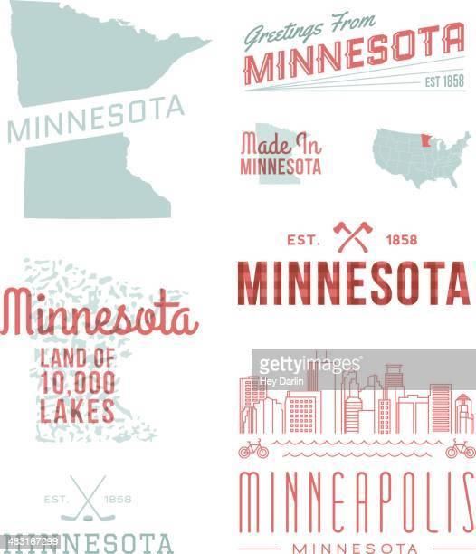 minnesota typography - minnesota stock illustrations