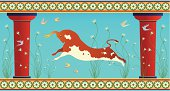 Minoan Leaping Bull with Birds Illustration