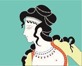 Minoan Woman Profile Illustration