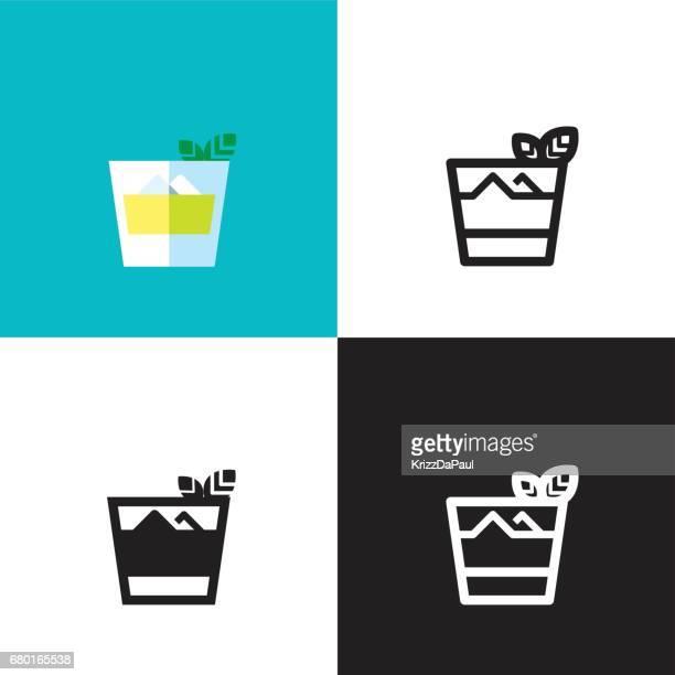 mint julep cocktail - mint julep stock illustrations