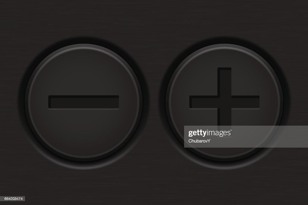 Minus and Plus buttons on dark background