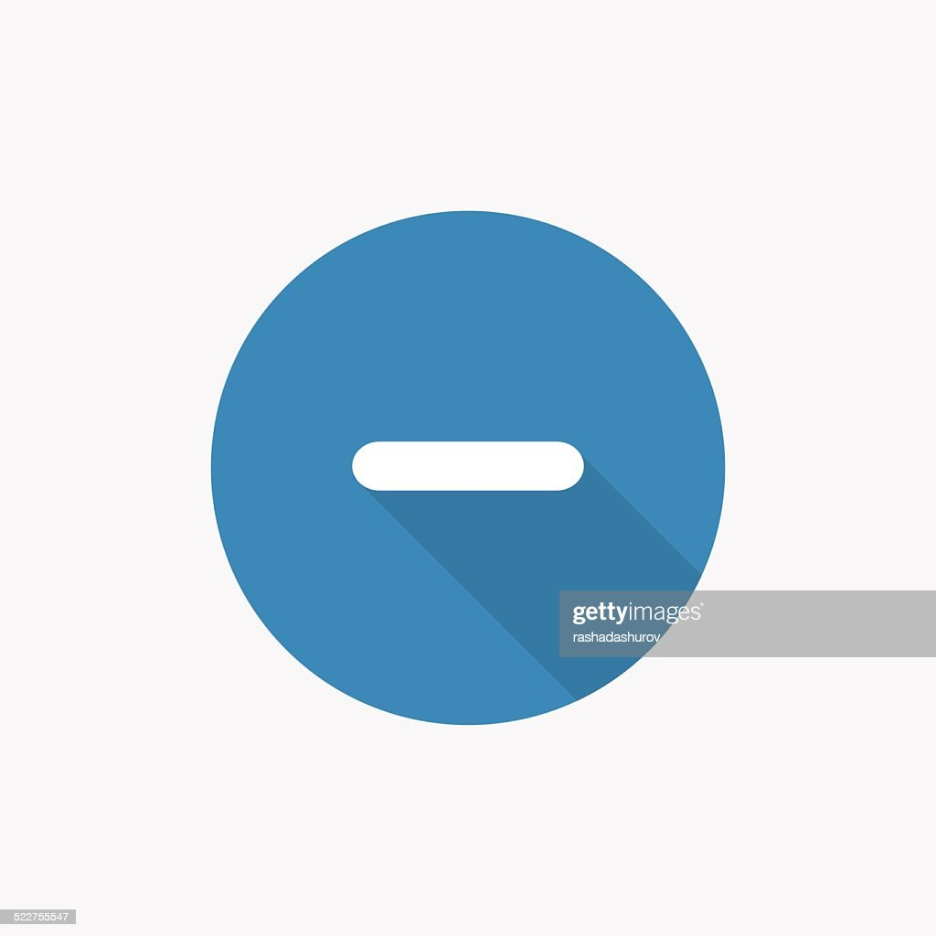 minus Flat Blue Simple Icon with long shadow