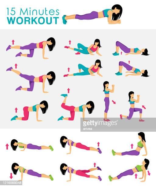 ilustraciones, imágenes clip art, dibujos animados e iconos de stock de entrenamiento físico de 15 minutos - pilates