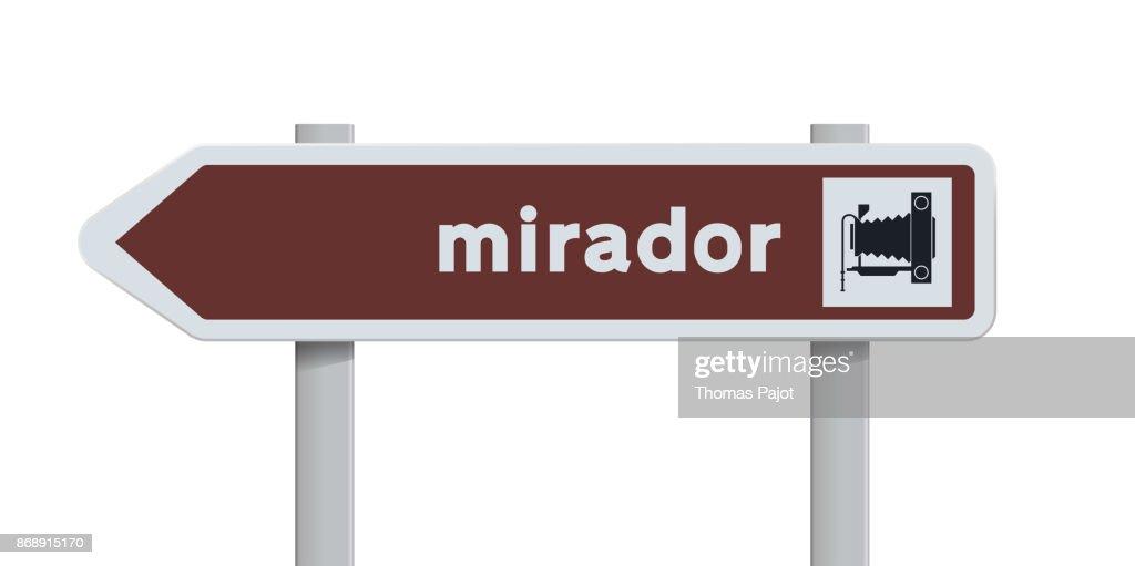 Mirador Spanish direction road sign