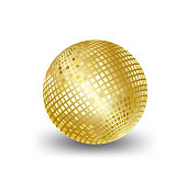 mirror ball gold vector,elements for Artwork greeting gift box holiday background cards party White background