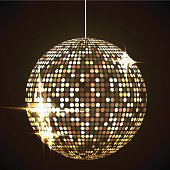 Mirror disco ball vector illustration. Glamorous shpere. Glowing design element