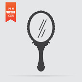 Mirror icon in flat style isolated on grey background.