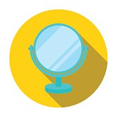 Mirror icon in flat style isolated on white background. Make up symbol stock vector illustration.