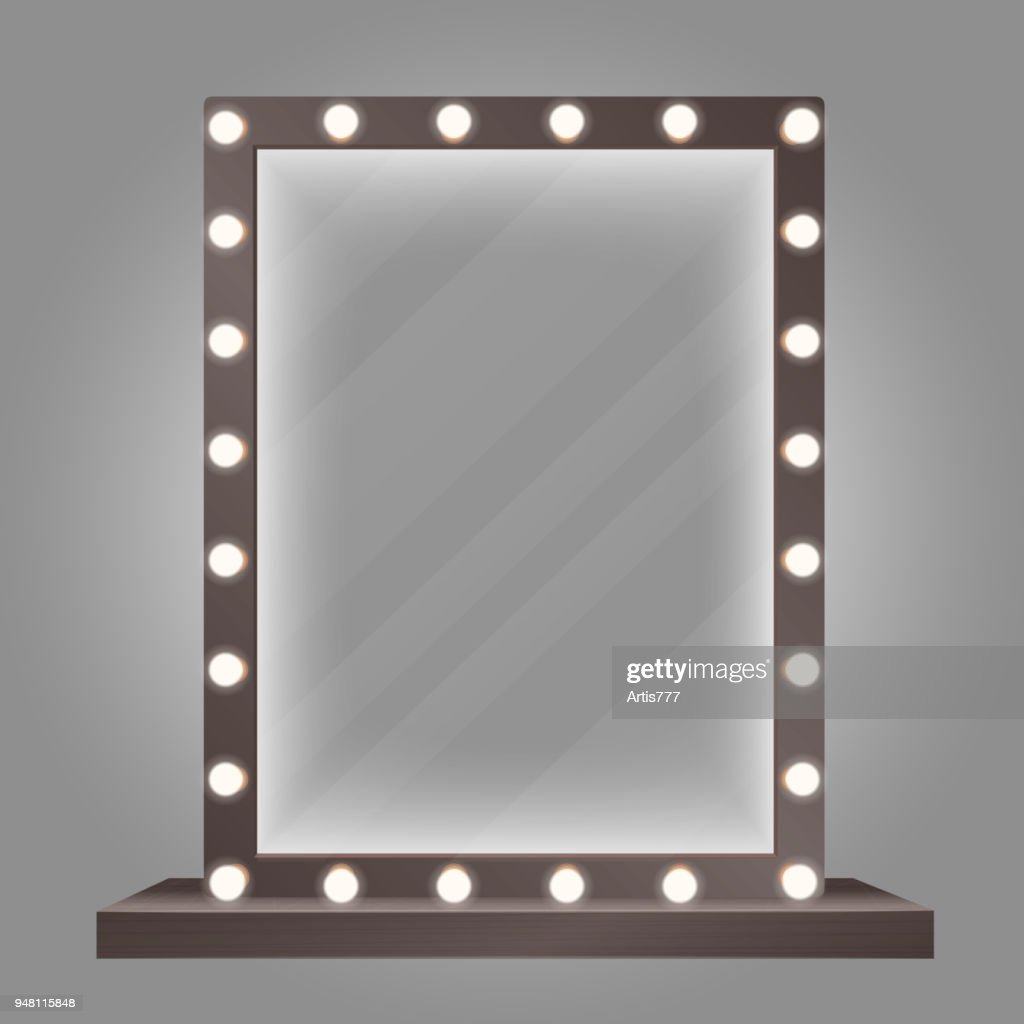 Mirror in frame with bulb lights. Makeup mirror vector illustration.