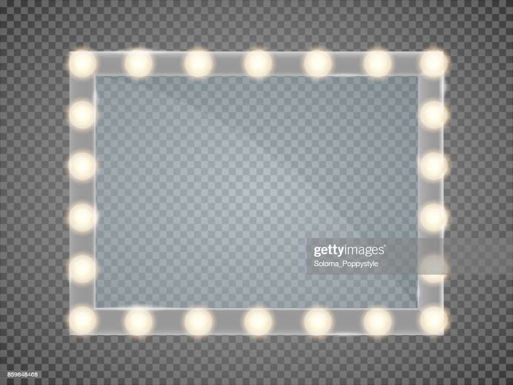 Mirror in frame with light makeup lights for changing room or backroom, on transparent background vector illustration