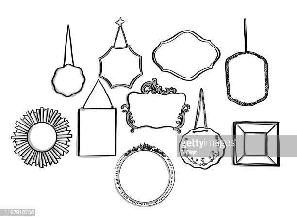 ilustraciones, imágenes clip art, dibujos animados e iconos de stock de espejo espejo en la pared - decorar