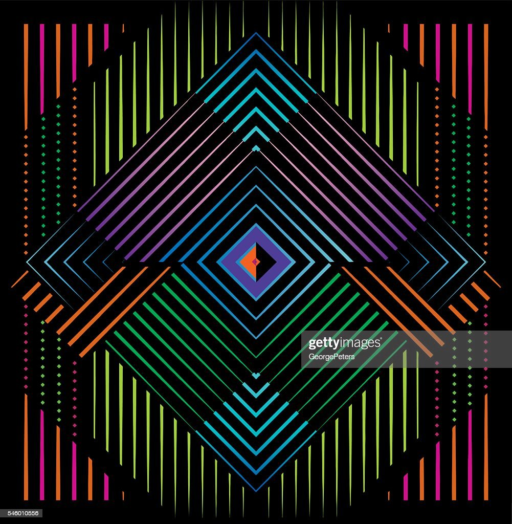 Mirrored Pattern Filled with Neon Colors and Black Background : stock illustration
