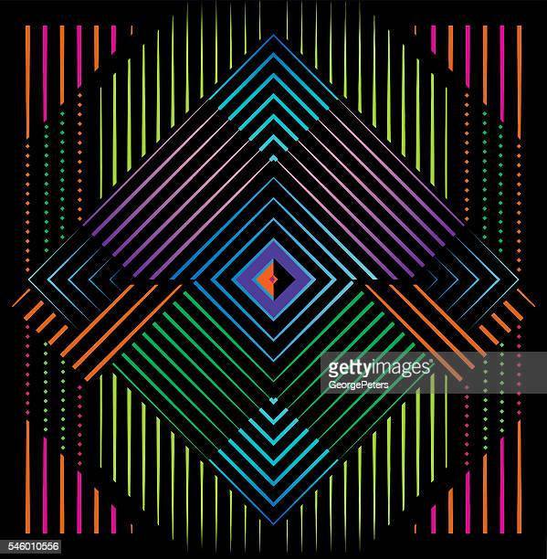 Mirrored Pattern Filled with Neon Colors and Black Background