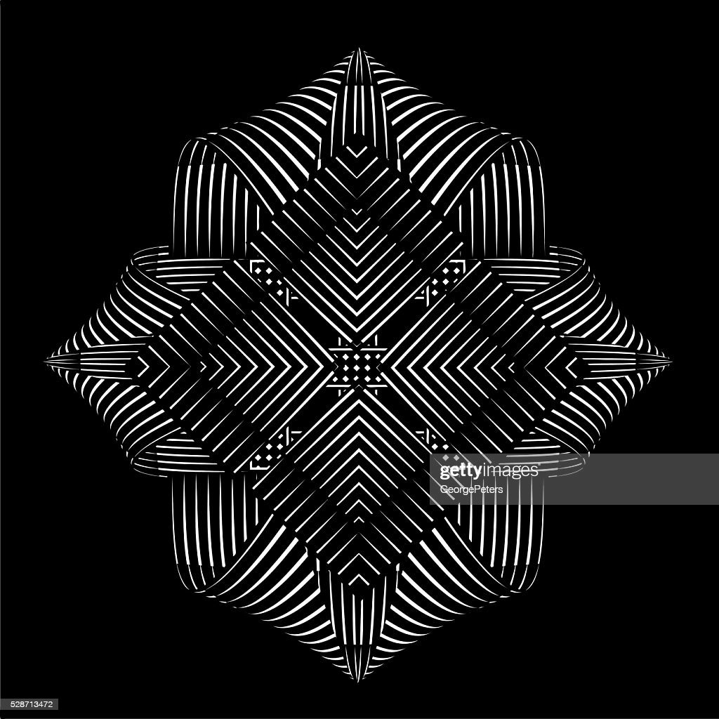 Mirrored pattern vector element, on black background