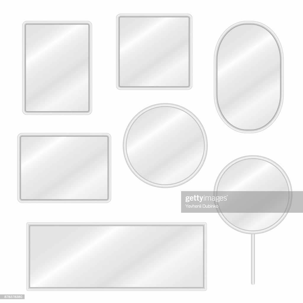Mirrors set in different forms with blurry reflection