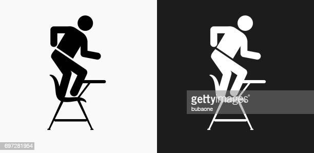 misbehaving on school desk icon on black and white vector backgrounds - naughty america stock illustrations, clip art, cartoons, & icons