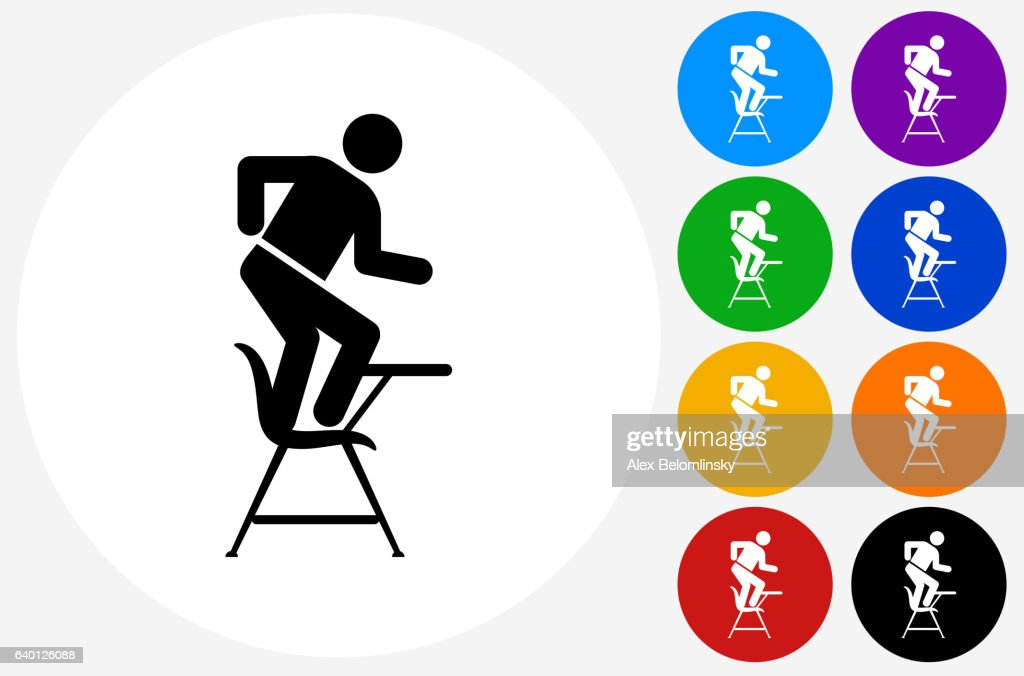 Misbehaving On School Desk Icon On Flat Color Circle Buttons Stock