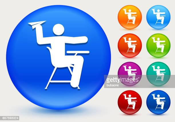 misbehaving on school desk icon on shiny color circle buttons - naughty america stock illustrations, clip art, cartoons, & icons