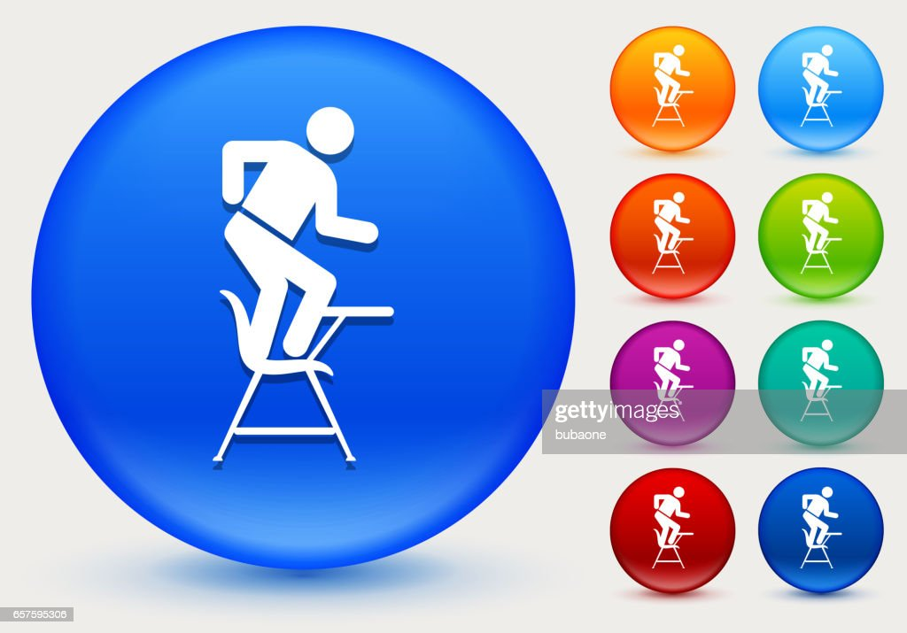 Misbehaving On School Desk Icon On Shiny Color Circle Buttons Stock