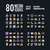 Miscellaneous neon icons of beverages weather business and communications, vector pack
