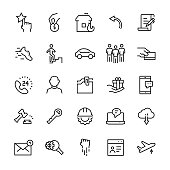 Miscellaneous vector icon set in line style. Editable stroke.
