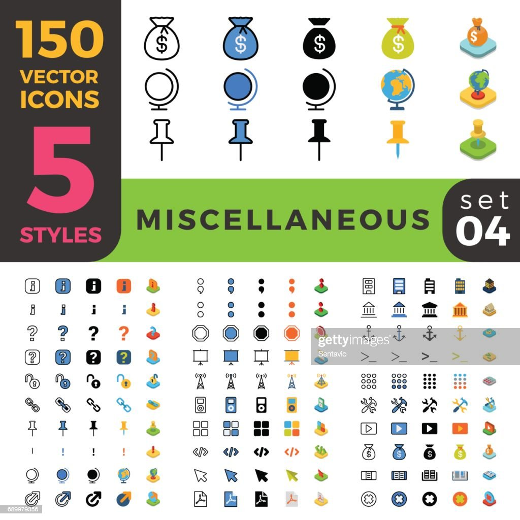 Miscellaneous Web Mobile Ui Vector Icon Set In Linear Outline Flat