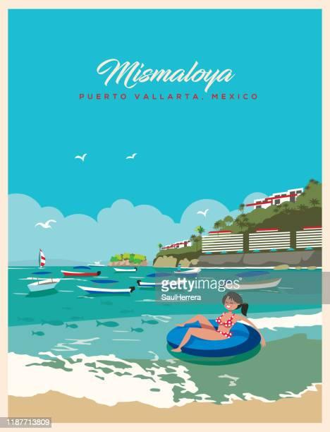 illustrations, cliparts, dessins animés et icônes de plage de mismaloya de puerto vallarta mexique - plage