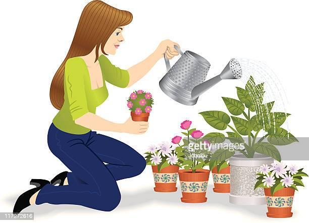 illustrations, cliparts, dessins animés et icônes de miss main verte - plante verte