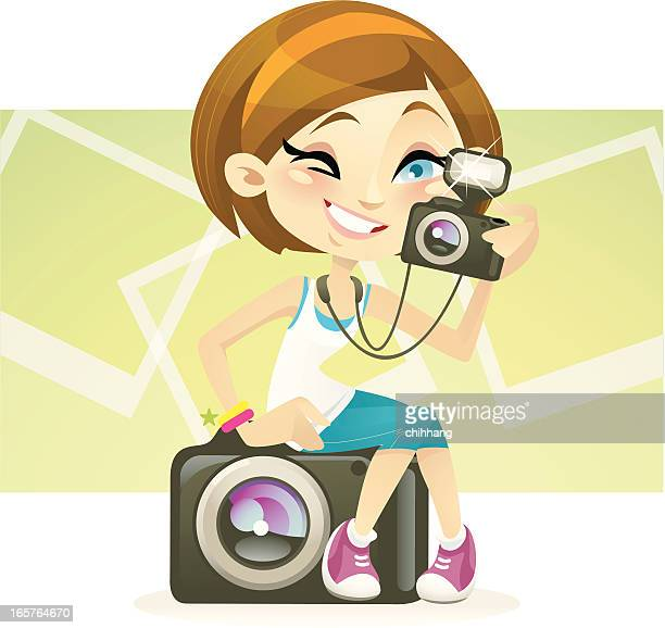miss photogenic - girls flashing camera stock illustrations