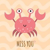 Miss you cute card, poster with a funny crab