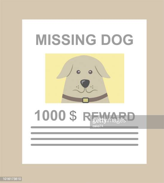 missing dog announcement - lost stock illustrations, clip art, cartoons, & icons