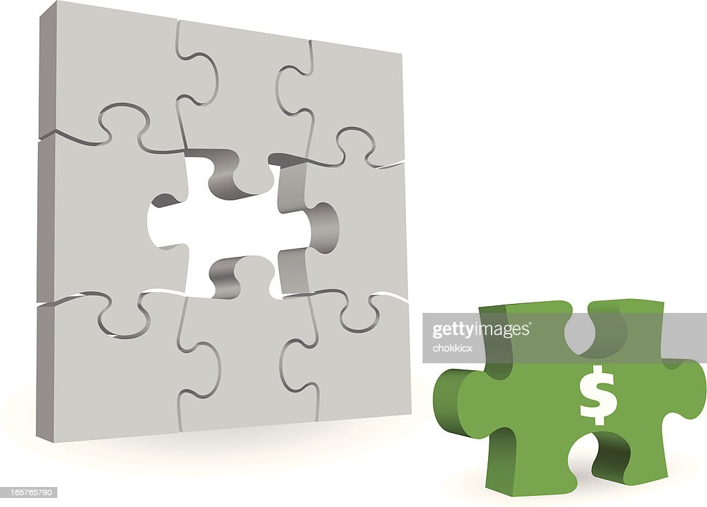 Missing Dollar Money Symbol Puzzle Piece Vector Art