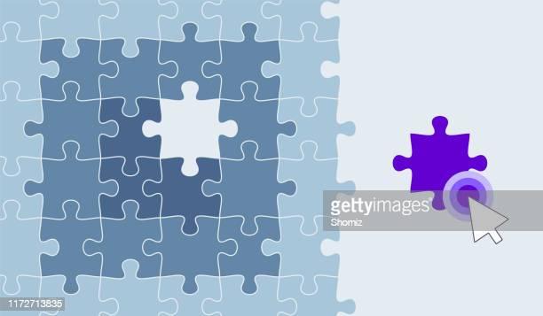 ilustraciones, imágenes clip art, dibujos animados e iconos de stock de plantilla de pieza de rompecabezas que falta - autismo