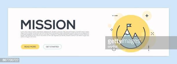 ilustraciones, imágenes clip art, dibujos animados e iconos de stock de concepto de misión - línea plana web banner - determinación