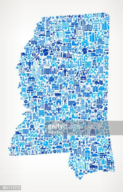 Mississippi Construction Industry Vector Icon Pattern