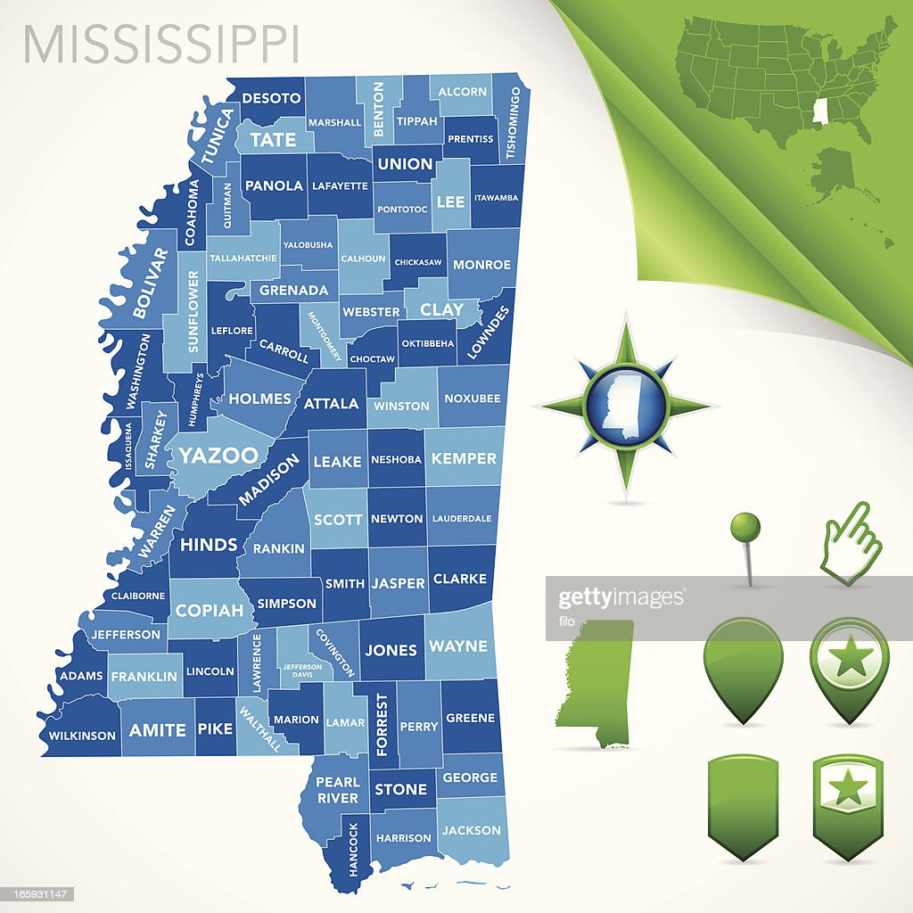 Mississippi County Map Vector Art Getty Images - Mississippi county map