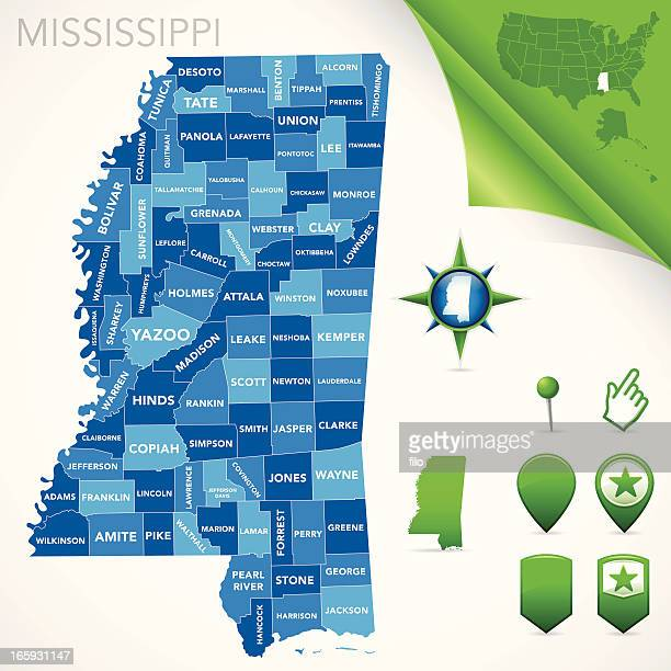 mississippi county map - mississippi stock illustrations