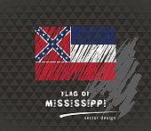 Mississippi flag, vector sketch hand drawn illustration on dark grunge background
