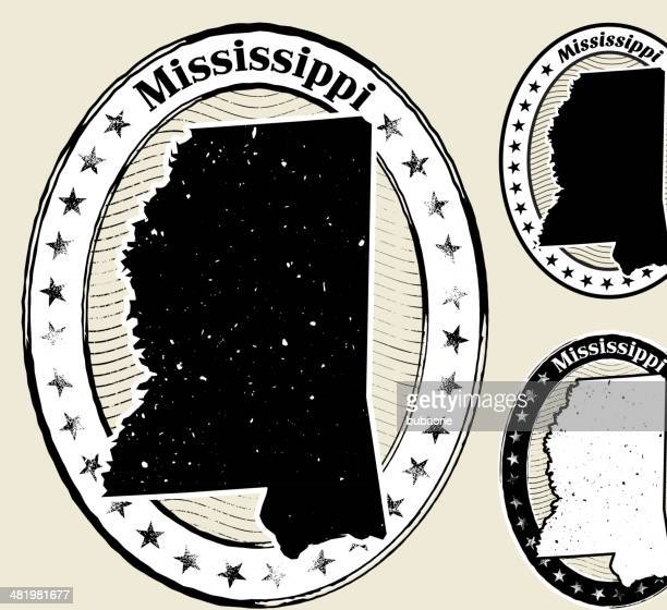 mississippi grunge map black & white stamp collection - mississippi stock illustrations, clip art, cartoons, & icons