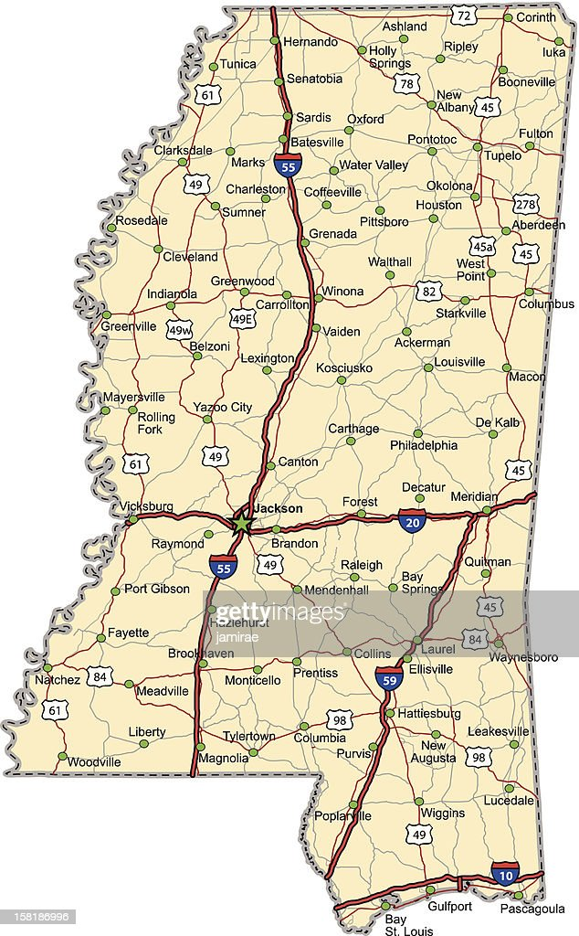 Mississippi Highway Map (vector)