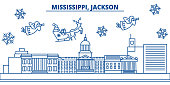 USA, Mississippi , Jackson winter city skyline. Merry Christmas and Happy New Year decorated banner. Winter greeting card with snow and Santa Claus. Flat, line vector. Linear christmas illustration