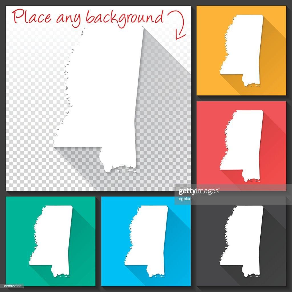 Mississippi Map for design, Long Shadow, Flat Design