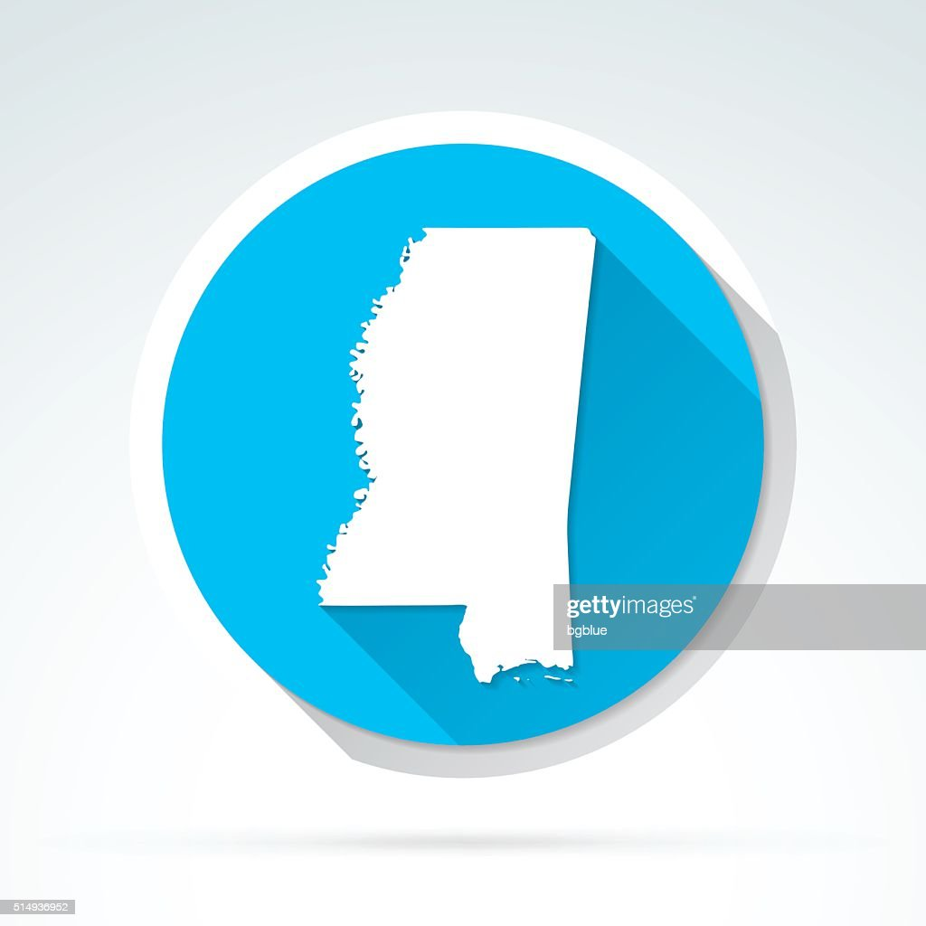Mississippi map icon, Flat Design, Long Shadow